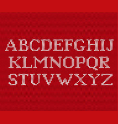 Knit font on christmas knitted background vector