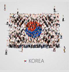 large group of people in the korea flag shape vector image