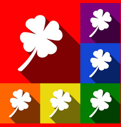 Leaf clover sign set of icons with flat vector