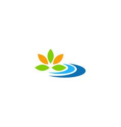 leaf colored floral nature logo vector image