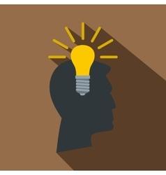 Light bulb idea icon flat style vector