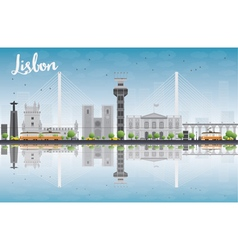 Lisbon city skyline with grey buildings vector