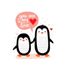 little penguins valentine scandinavian vector image