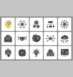 machine learning icon set isolated vector image