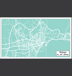 malaga spain city map in retro style outline map vector image