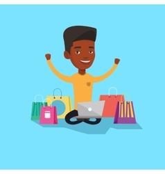 Man shopping online vector