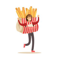 man wearing french fries costume potato snack vector image