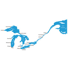 map great lakes and st lawrence river map vector image