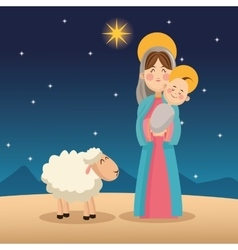 Mary and baby jesus cartoon design vector