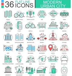 Modern city color flat line outline icons vector