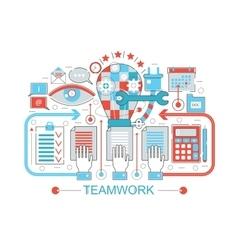 Modern Flat thin Line design Teamwork coworking vector image