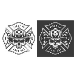 Monochrome firefighting emblems vector