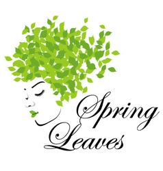 Mother nature with spring leaves as hair vector