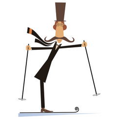 Mustache man in the top hat a skier vector