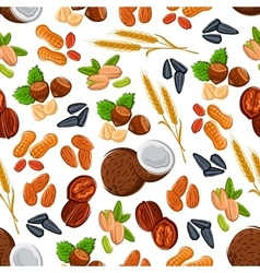 Nuts and cereal seamless pattern for food design vector