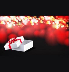 open gift box with red bow ribbon isolated on on vector image