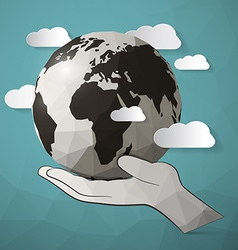 Paper Planet Earth in Hand vector image