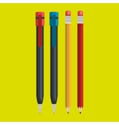 pencil and pen isolated icon design vector image