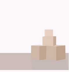 Pile of parcel boxes stacked sealed goods in vector