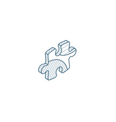puzzle part jigsaw piece solution isometric icon vector image