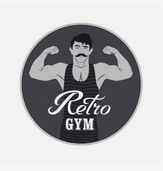 Retro gym vintage poster design with strong man vector