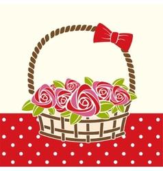 roses gift basket vector image vector image