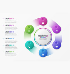 Rotating circle chart template with 6 options vector