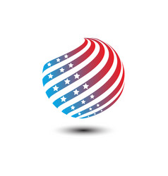 round circle shape american flag icon vector image