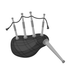 Scottish bagpipes icon in monochrome style vector