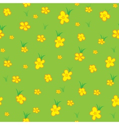 Seamless pattern grass and flowers vector