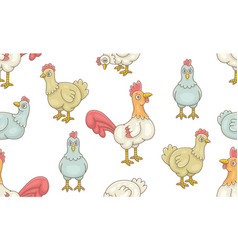 seamless pattern with cocks and hens vector image