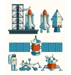 Set flat on the space theme vector image
