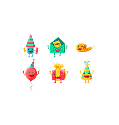 set humanized accessories for a birthday vector image