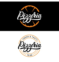 Set of pizzeria hand written lettering logo label vector image