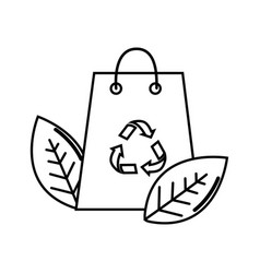 Silhouette bag with recycling symbol and leaves vector