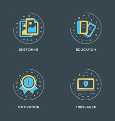 sketching education motivation freelance set of 4 vector image