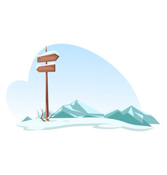 Snowed mountains and signboard on highlands road vector