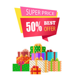 Super price best offer label emblem ribbon box vector