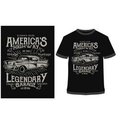 T-shirt design americas highway graphic vector