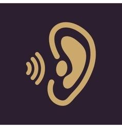 The ear icon Sense organ and hear understand vector