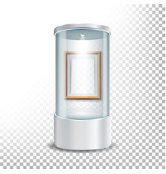 Transparent glass museum showcase podium with vector