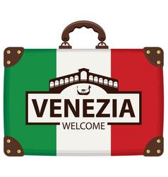 Travel bag with italian flag and ponte di rialto vector