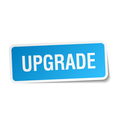 Upgrade blue square sticker isolated on white vector