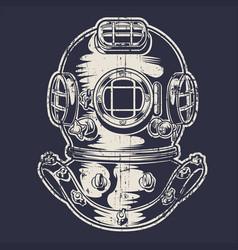Vintage brass scuba sea diving mask octopuses ovec vector