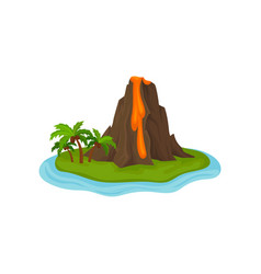 volcano on small green island surrounded by water vector image