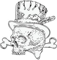Voodoo skull in old hat vector