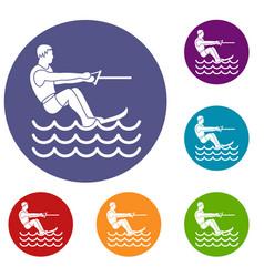 Water skiing man icons set vector