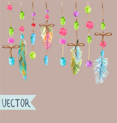 Watercolor beautiful dream catcher design vector
