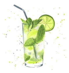 Watercolor mojito vector image