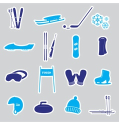winter sports and equipment stickers eps10 vector image